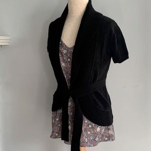 BCBG MaxAzria black wrap cotton cardigan sweater